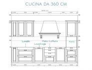 Cucina dritta da 360 cm