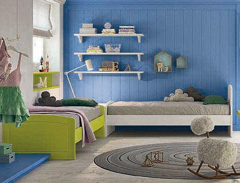 Letti singoli in vero legno scandola mobili - Camerette bambini legno naturale ...