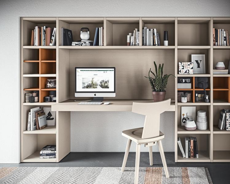 Zona studio per camerette con Scrivania, Libreria e Vani a