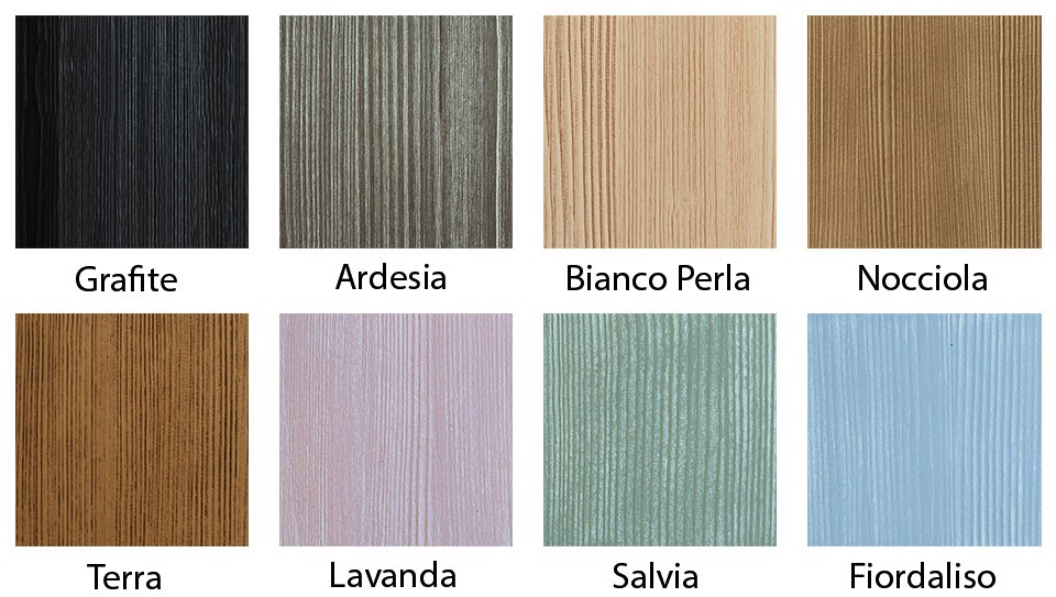 The colours and finishes of Scandola Mobili\'s furniture