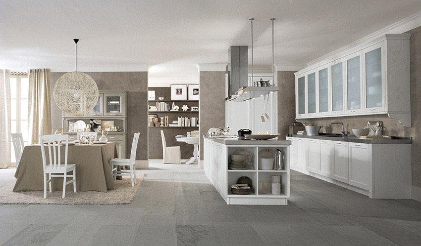 Cucina new classic lineare con isola scandola - Cucina classica con isola ...