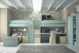 Children's bedroom with bunk bed and loft bed
