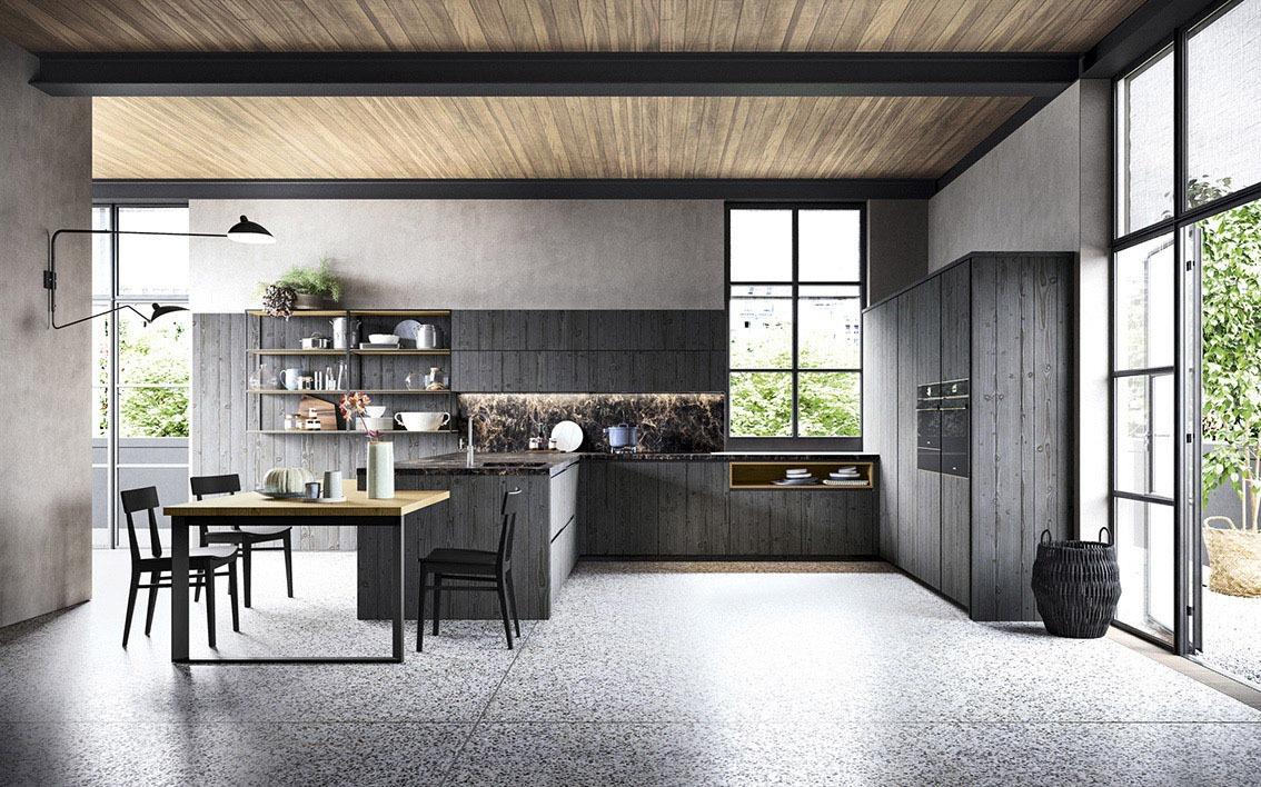 Cucina in legno colore nero