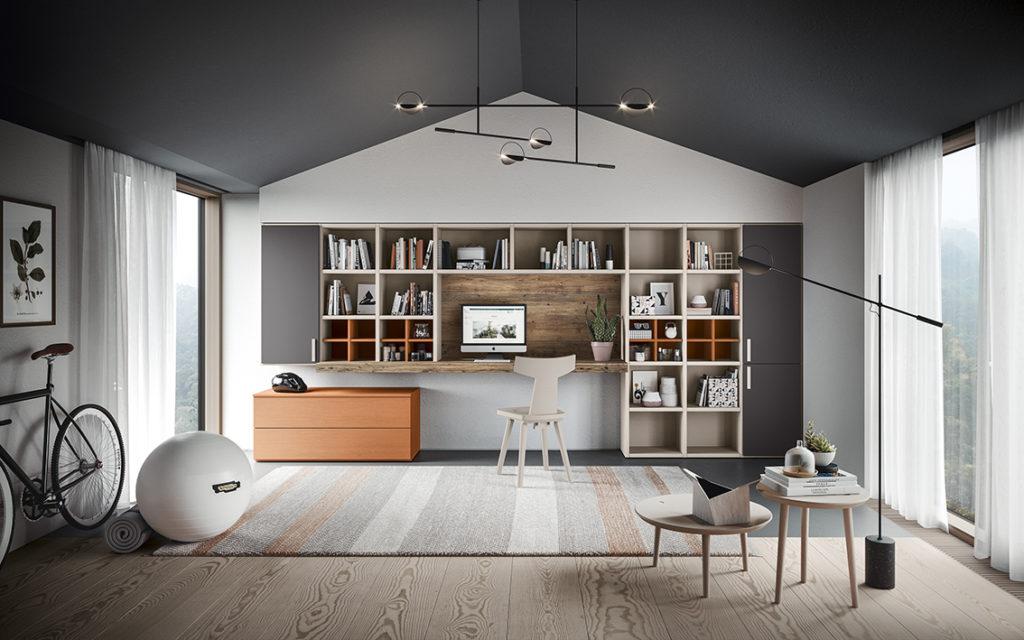 Libreria con piano scrivania