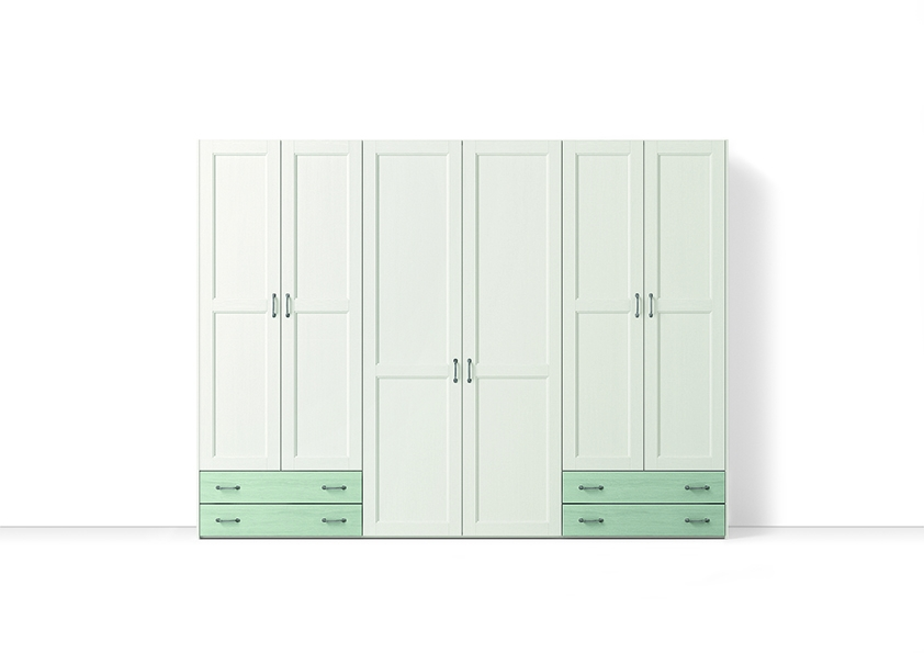 Armadio con cassetti esterni verde