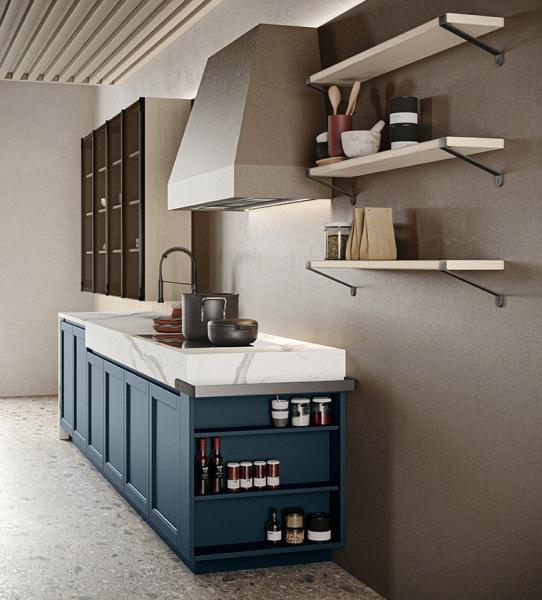 Cucina lineare blu