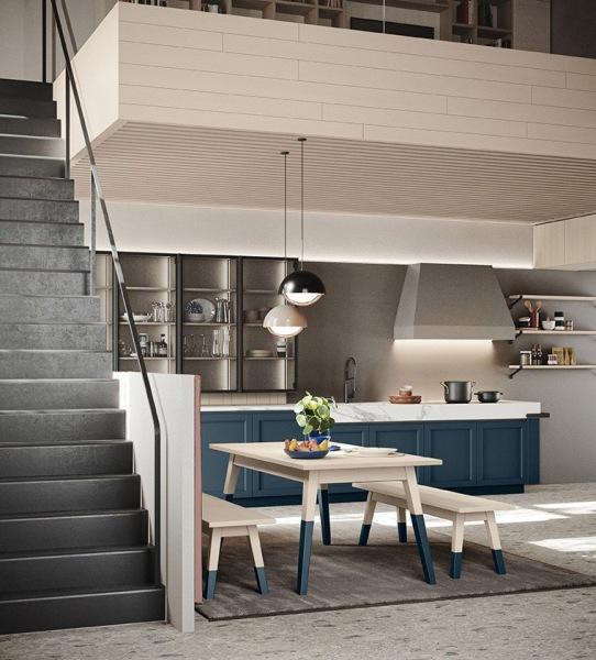 Cucina blu e bianca