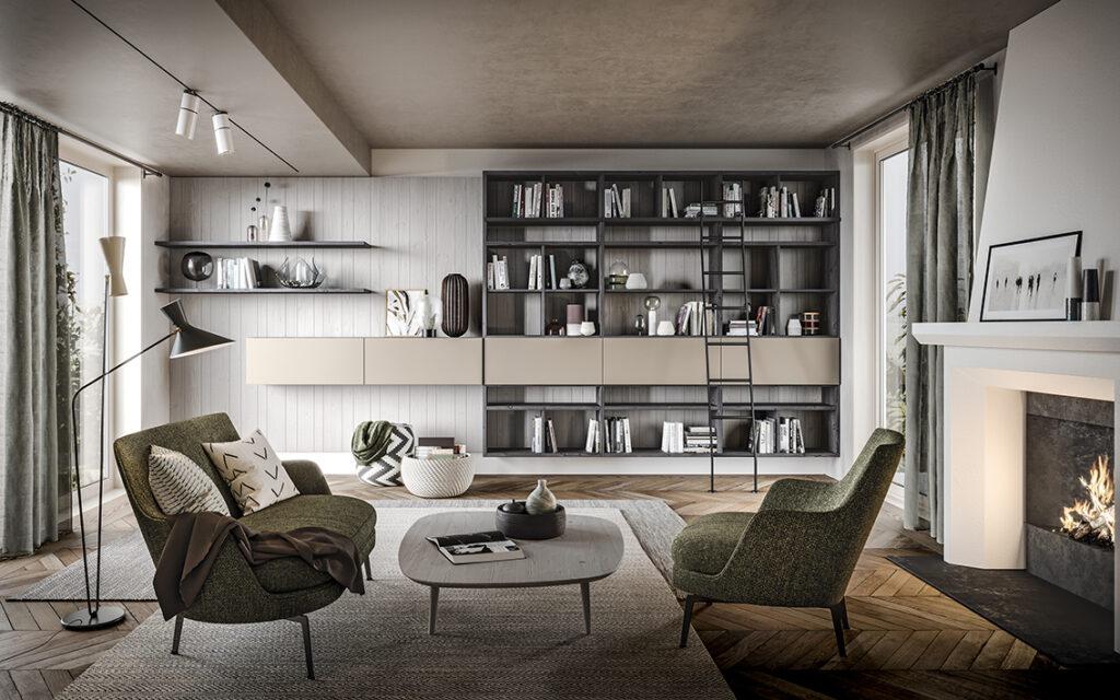 Parete soggiorno componibile moderna